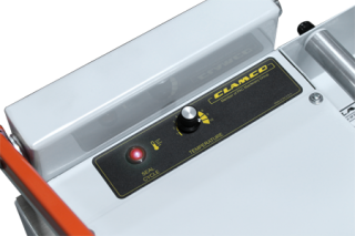 Time/Temperature Control and ON/OFF indicator light on 300 I-Bar Sealer control panel
