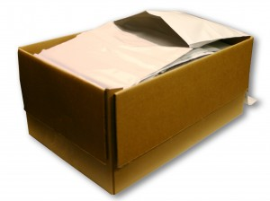 Mailer Rollbag poly mailers for mail order fulfillment, fan folded in a box