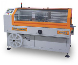 The Clamco Model 6800CS Side Seal Shrink Wrapper features a closing conveyor for smooth and dependable product transfer.